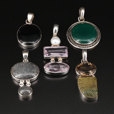 Sterling Silver Pendants Featuring Lepidococite, Chalcedony, and Glass