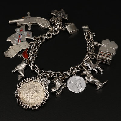 Vintage Sterling Silver Charm Bracelet Featuring Wells and Beau
