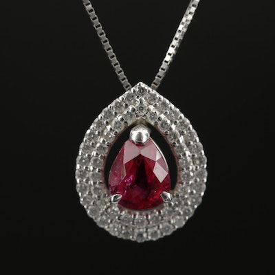 Platinum Ruby and Diamond Pendant Necklace
