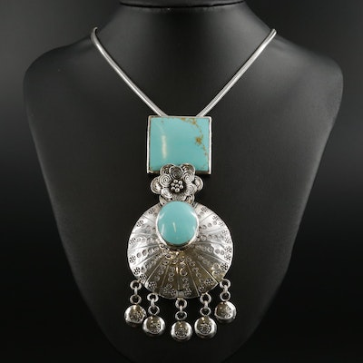 Sterling Silver Imitation Turquoise Pendant Necklace