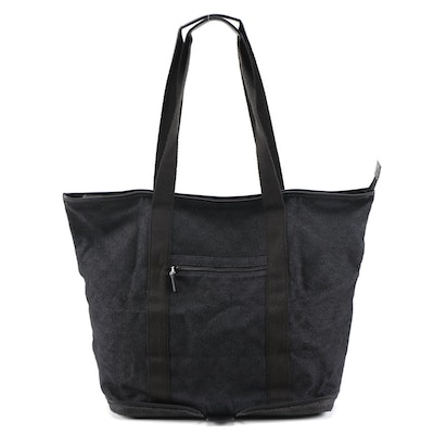 Gucci Black GG Canvas Collapsible Zip Tote Trimmed in Leather