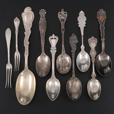 Sterling Flatware and Souvenir Spoons and More, Late 19th/Early 20th Century