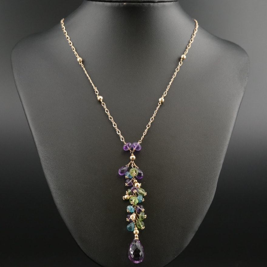 J. Daley Design 14K Yellow Gold Amethyst, Peridot, and Apatite Pendant Necklace