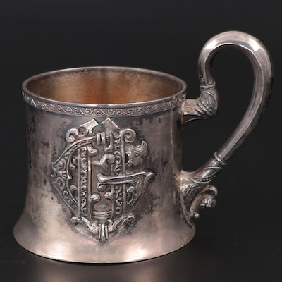 Russian 875 Silver Cup with Applied Monogram, 1908–1926