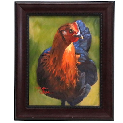 Oil Painting of a Hen
