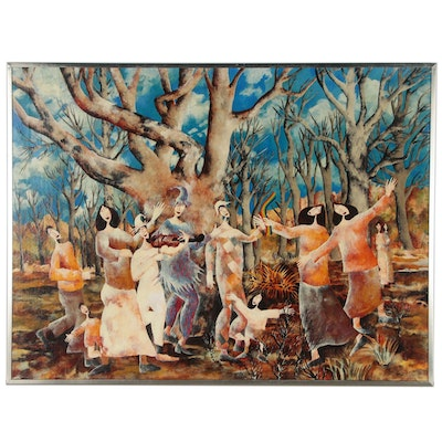 Harry Bilson Oil Painting of Stylized Figures in Forest