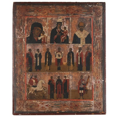"Eastern Orthodox ""Sedmitza"" Icon Painting, including Mother of God"