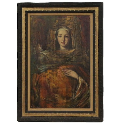 Paolo Emilio Bergamaschi Portrait Oil Painting of Young Woman
