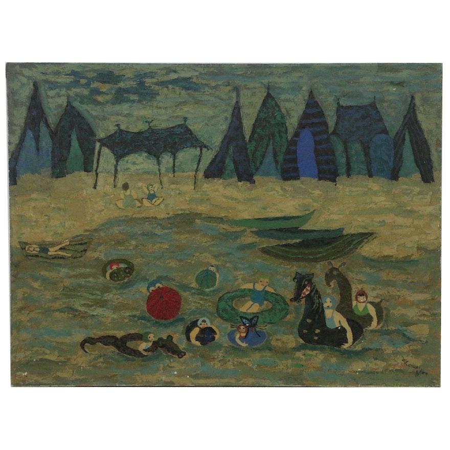 Lee Csuri Modernist Seaside Folk Painting, 1959