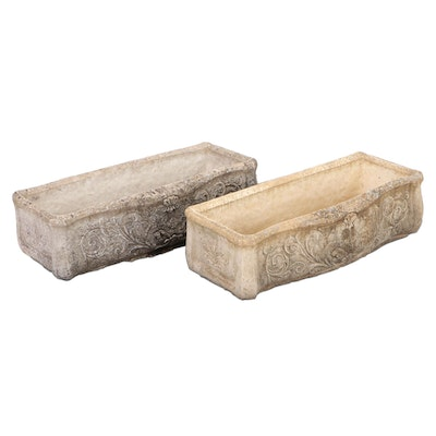 Cast Concrete Garden Planters with Putti Motif