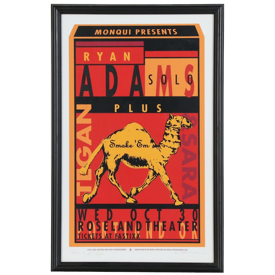 Mike King and Gary Houston Serigraph Poster for Ryan Adams at Roseland Theater