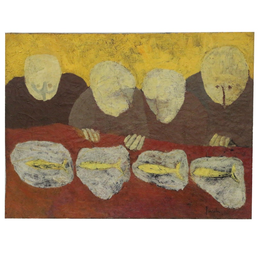 Attributed to Donald Purdy Modernist Abstract Oil Painting with Figures