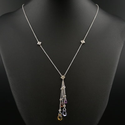 18K White Gold Sapphire and Diamond Pendant Necklace Featuring Tassel Motif