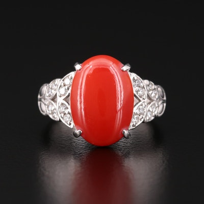 Platinum, Diamond and Coral Ring