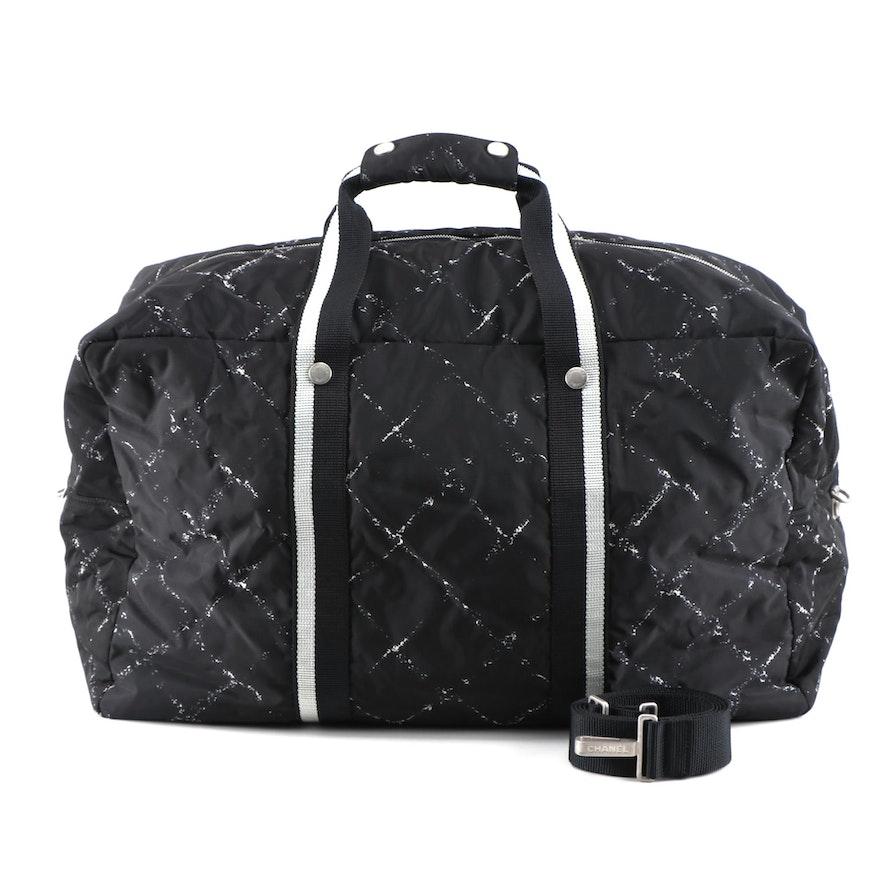 Chanel Travel Line Tonal Black Jacquard Nylon and Leather Trimmed Duffel Bag