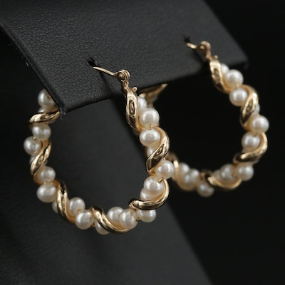 14K Entwined Pearl Hoop Earrings