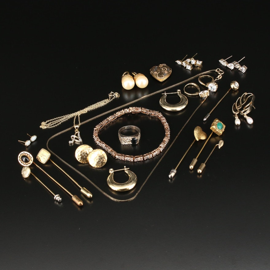 Assorted Jewelry with Glass, Black Onyx and Imitation Pearl
