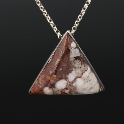 Sterling Silver and Jasper Geometrical Pendant Necklace