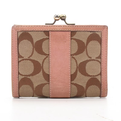 Coach Signature Canvas and Blush Pink Leather Kiss Lock Wallet