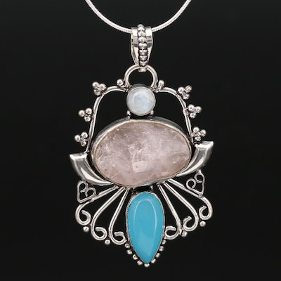 Sterling Rose Quartz, Moonstone and Chalcedony Pendant Necklace