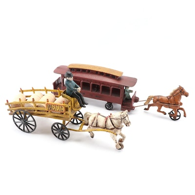 Reproduction Cast Iron Horse Drawn Street Car and Beer Delivery Wagon