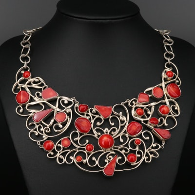 Sterling Silver Branch Coral Bib Necklace