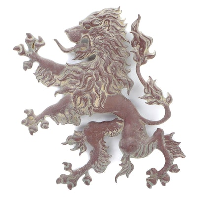 Patinated Cast Metal Lion Rampant Wall Hanging