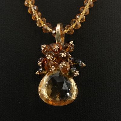 J. Daley Design 14K Yellow Gold Citrine and Smoky Quartz Pendant Necklace