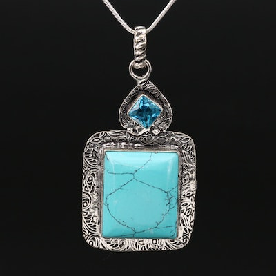 Sterling Silver Magnesite and Glass Pendant Necklace
