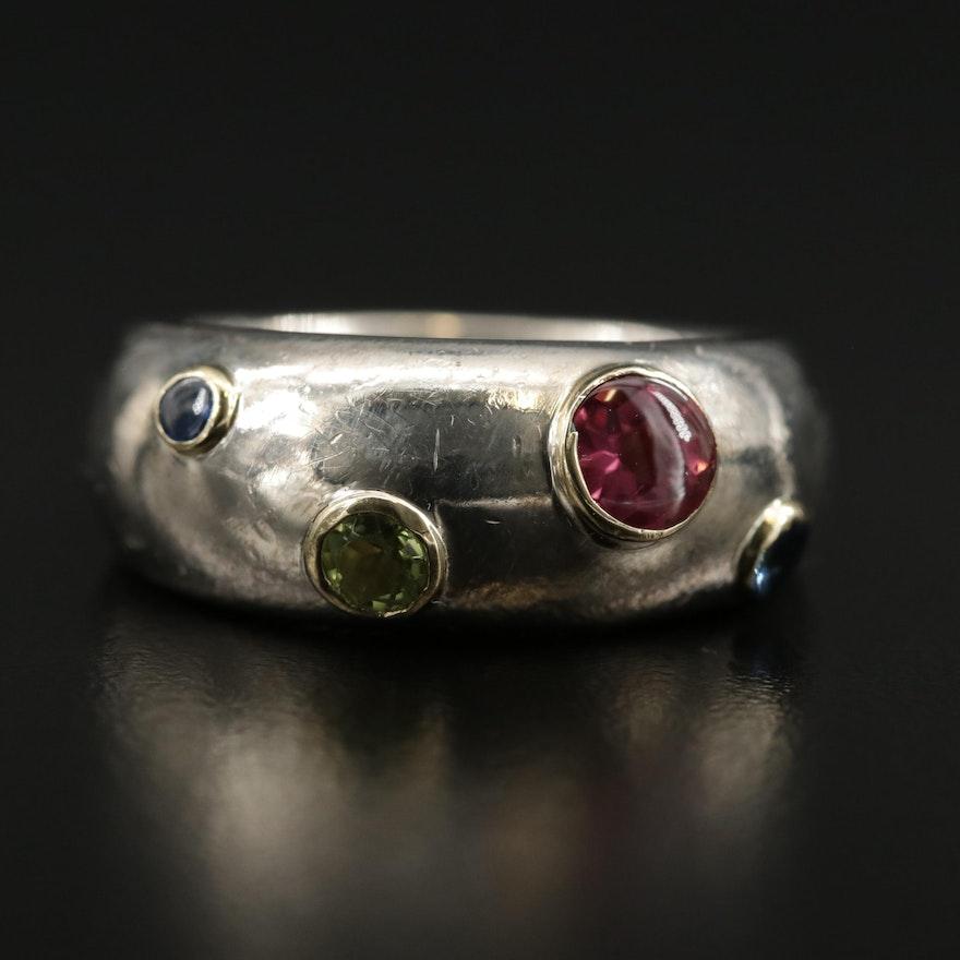"Tiffany & Co. ""Etoile"" Sterling Sapphire, Tourmaline and Peridot Ring"