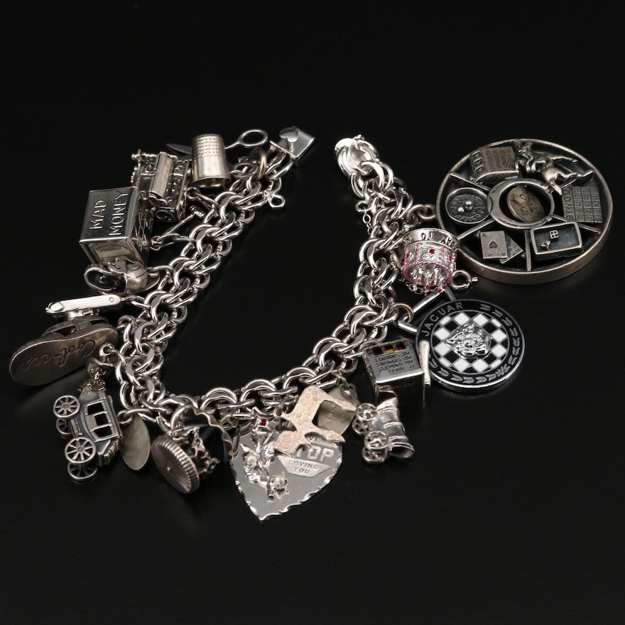 Vintage Sterling Silver Charm Bracelet with Carousel