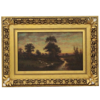 Pastoral Landscape Painting, Mid to Late 19th Century