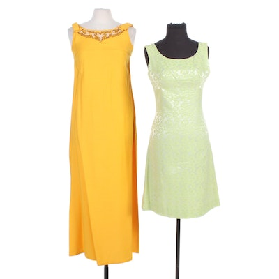 Spiegel Green Damask Dress and Other Beaded Yellow Sleeveless Dress, Vintage