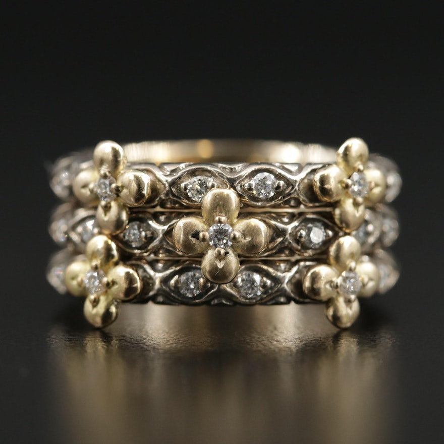 Bixby Sterling Diamond Stacking Rings with 18K Accents