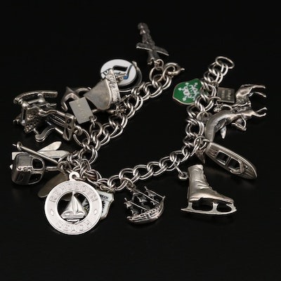 Vintage Sterling Charm Bracelet Featuring Danecraft, Beau and Bell Trading