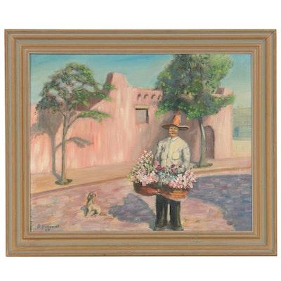 John Kurowski Southwestern Flower Merchant Oil Painting, 1964