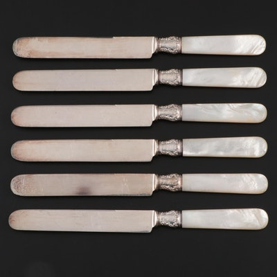 Daniel Low & Co. Mother-of-Pearl Handled Silver Plate Knives, 1900