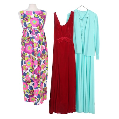 Dan Lee Couture Set, Hawaiian and Other Sleeveless Maxi Dresses, 1960s Vintage