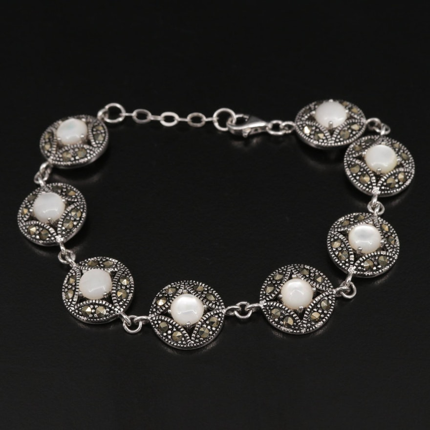 Sterling Silver Mother of Pearl and Marcasite Bracelet