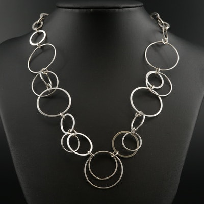Sterling Concentric Circle Link Necklace