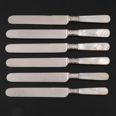Meriden Cutlery Co. Mother-of-Pearl Handled Silver Plate Knives