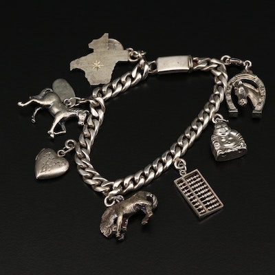 Vintage Sterling Silver Charm Bracelet Featuring Southwestern Themed Charms