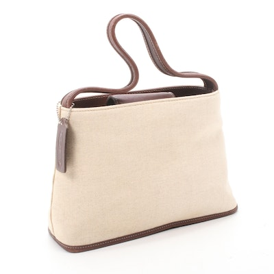 Coach Linen and Brown Leather Top Handle Bag