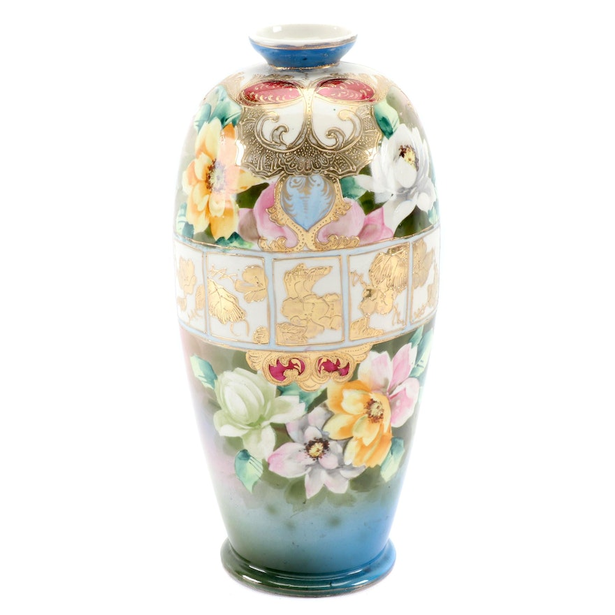 Japanese Hand-Painted Porcelain Vase, Mid to Late 20th Century