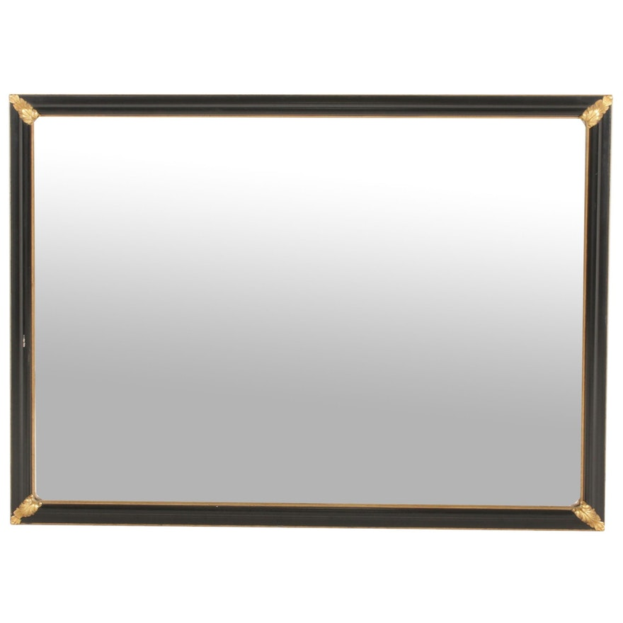 Antique Style Black Framed Wall Mirror with Leaf Designs