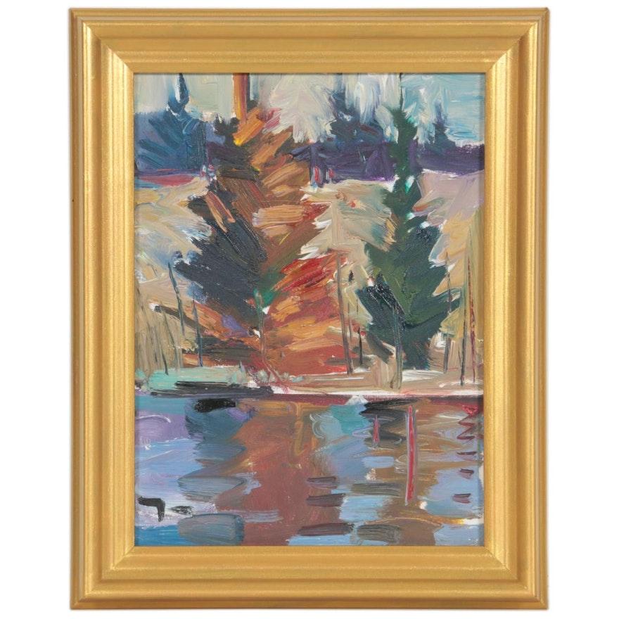 "Jose Trujillo Oil Painting ""Pine Morning"", 2019"