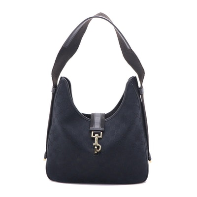Gucci Black GG Canvas Shoulder Bag with Leather Trim