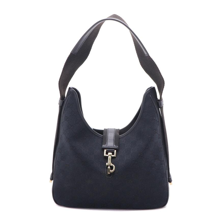 Gucci Black GG Canvas Shoulder Bag with Leather Trim