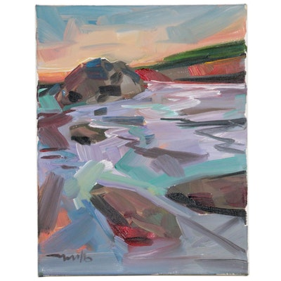 "Jose Trujillo Seascape Oil Painting ""Lowtide"", 2020"