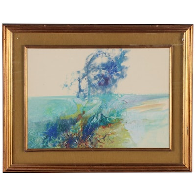 Vittorio H. Sodo Abstract Landscape Oil and Watercolor Painting